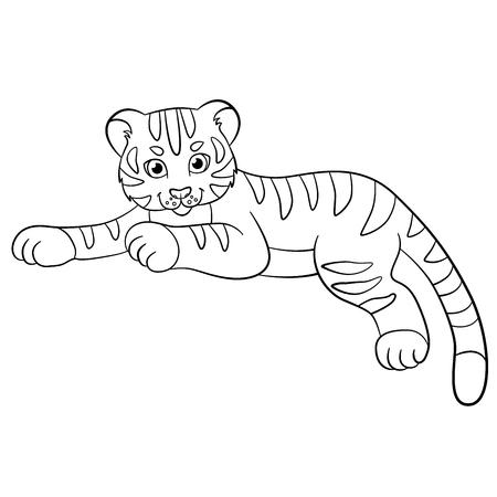 tigre bebe: Páginas para colorear. Animales salvajes. Pequeño tigre de bebé lindo pone y sonríe.