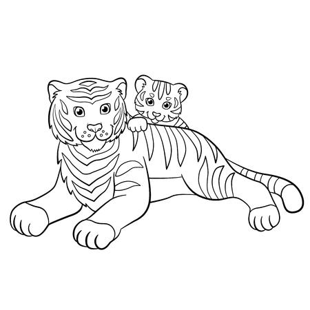 Malvorlagen. Wilde Tiere. Kleine Süße Baby-Tiger Legt Und Lächelt ...