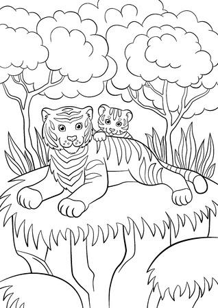 dibujos para colorear: Páginas para colorear. Animales salvajes. tigre de la madre sonriente con su pequeño tigre lindo bebé en el bosque.