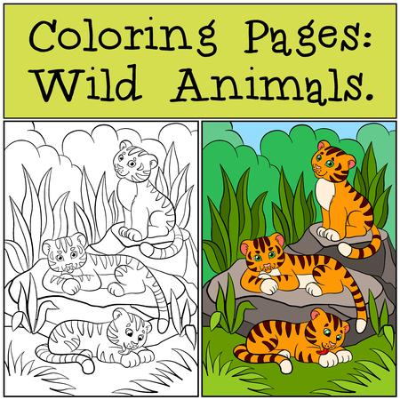 Dibujos para colorear: Animales salvajes. Pequeños sonrisas lindos de los tigres del bebé.
