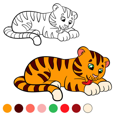 tiger page: Coloring page. Color me: tiger. Little cute baby tiger cleans himself. Illustration