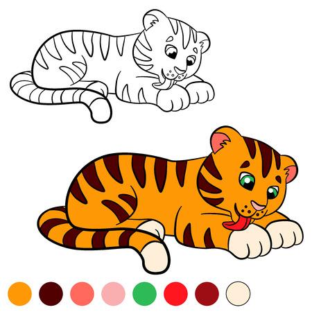 tigre bebe: Dibujo para colorear. Color me tigre. Peque�o tigre lindo del beb� limpia a s� mismo.