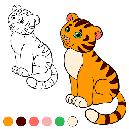 tiger page: Coloring page. Color me: tiger. Little cute baby tiger sits and smiles.