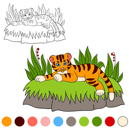 tiger page: Coloring page. Color me: tiger. Little cute baby tiger lays and smiles.