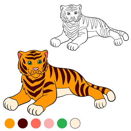tiger page: Coloring page. Color me: tiger. Cute tiger lays and smiles.