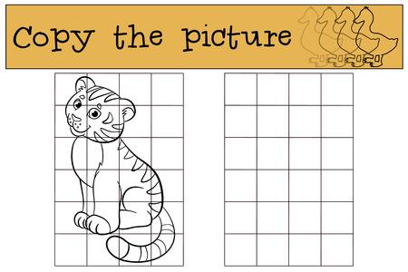 tigre bebe: Juegos infantiles: Copiar la imagen. Peque�o tigre lindo beb� se sienta y sonr�e. Vectores