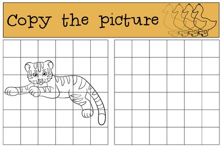 tigre bebe: Juegos infantiles: Copiar la imagen. Peque�o tigre de beb� lindo pone y sonr�e.