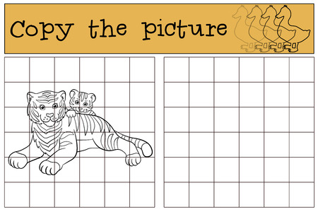 tiger page: Children games: Copy the picture. Mother tiger lays with her little cute baby tiger and smiles.