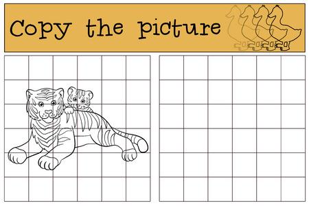 tigre bebe: Juegos infantiles: Copiar la imagen. Tigre madre establece con su peque�o tigre de beb� lindo y sonrisas.