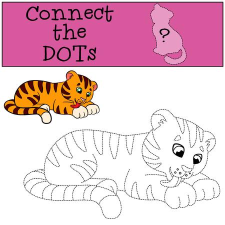 tigre bebe: juegos educativos para ni�os: conectar los puntos. Peque�o tigre lindo del beb� limpia a s� mismo. Vectores