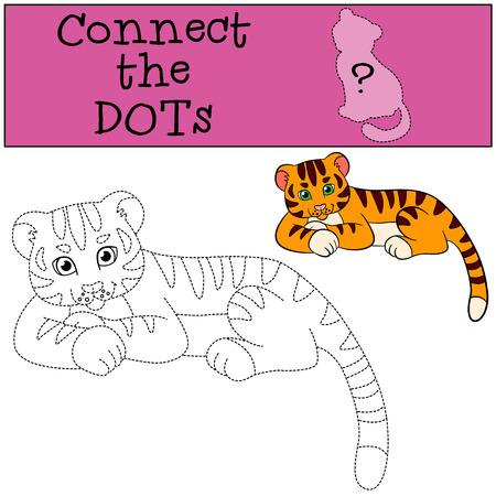 tigre bebe: juegos educativos para ni�os: conectar los puntos. Peque�o tigre de beb� lindo pone y sonr�e.