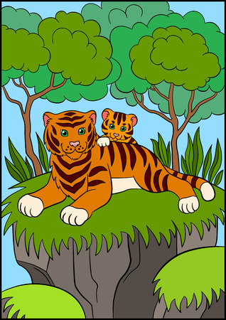 tigress: Coloring pages. Wild animals. Smiling mother tiger with her little cute baby tiger in the forest.