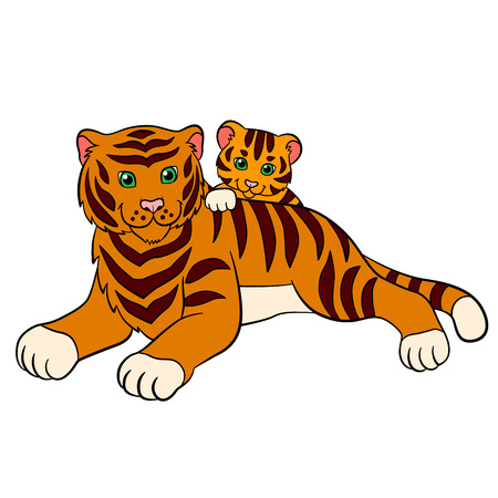 tigress: Cartoon wild animals for kids: Tiger. Mother tiger lays with her little cute baby tiger and smiles.