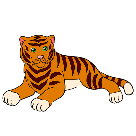 tigress: Cartoon wild animals for kids: Tiger. Cute striped tiger lays and smiles. Illustration