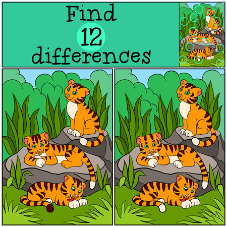 differences: Children games: Find differences. Little cute tigers in the forest.