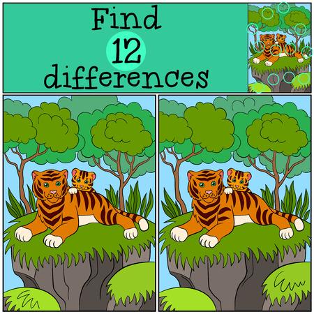 tigre bebe: Juegos infantiles: Encuentra las diferencias. Gato de la madre establece con su pequeño tigre de bebé lindo y sonrisas.