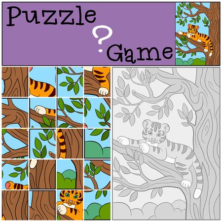 tigre bebe: juegos educativos para los ni�os. Rompecabezas. Peque�o tigre de beb� lindo se acuesta en la rama de un �rbol y sonr�e.