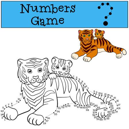 tigre bebe: juegos educativos para los ni�os: Los n�meros juego con contorno. Tigre madre establece con su peque�o tigre lindo beb�. Vectores