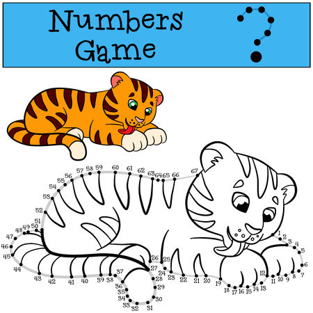 tiger page: Educational games for kids: Numbers game with contour. Little cute tiger cleans himself.