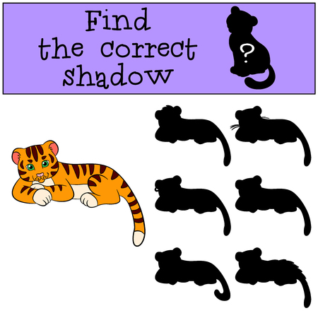tigre bebe: Children games: Find the correct shadow. Cute little baby tiger lays and smiles.