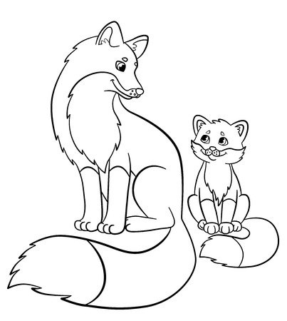 young beautiful fox coloring pages wild animals mother fox with her little cute