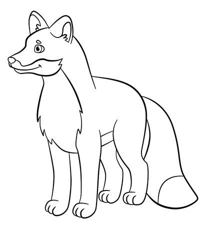 coloration: Coloring pages. Wild animals. Little cute fox stands and smiles.