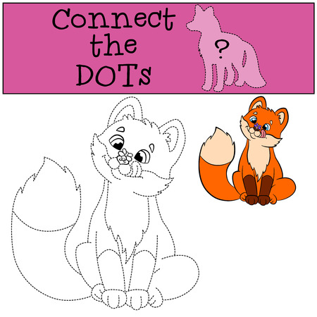 coloring sheets: Educational games for kids: Connect the dots. Little cute baby fox looks at the fly and smiles.