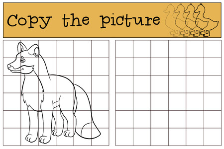 shape cub: Children games: Copy the picture. Little cute fox stands and smiles.