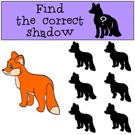 shape cub: Children games: Find the correct shadow. Little cute baby fox stands and smiles. Illustration