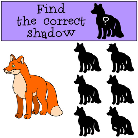 shape cub: Children games: Find the correct shadow. Little cute fox stands and smiles