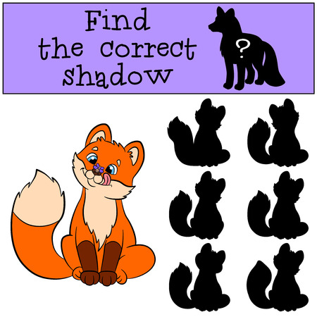 shape cub: Children games: Find the correct shadow. Little cute baby fox looks at the fly on his nose and smiles. Illustration