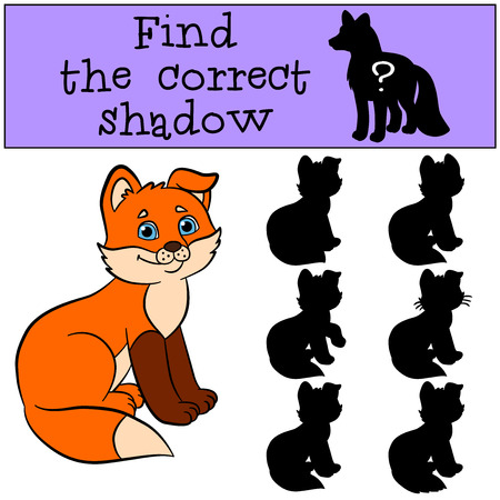 shape cub: Children games: Find the correct shadow. Little cute baby fox sits and smiles. Illustration