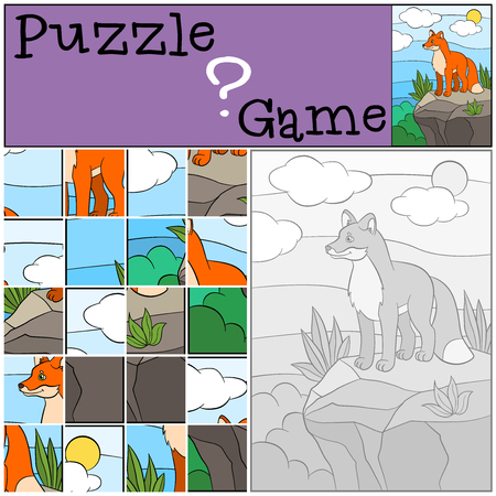 little rock: Education games for kids. Puzzle. Little cute stands on the top on the rock and smiles. Illustration