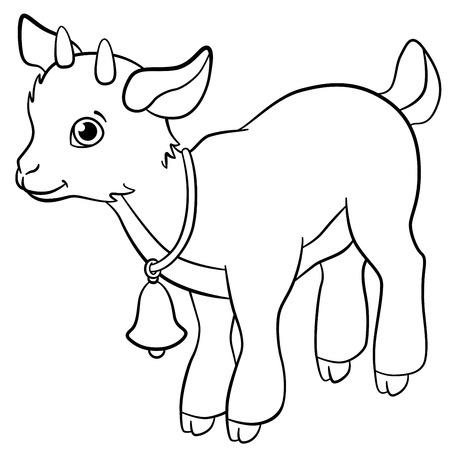 색칠 페이지를 참조하십시오. 농장 동물. 귀여운 염소 새끼 미소. 일러스트