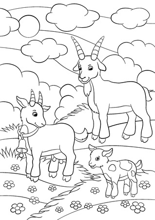 nanny cartoon coloring pages farm animals goat family in the field