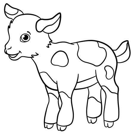 Páginas para colorear. Animales de granja. Poco goatling manchado lindo se encuentra y sonríe. Ilustración de vector
