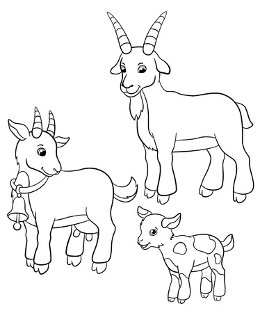 baby goat: Coloring pages. Farm animals. Goat family stands and smiles.