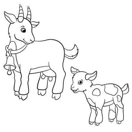 nanny cartoon coloring pages farm animals cute mother goat looks at the little