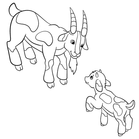 baby goat: Coloring pages. Farm animals. Father goat looks at his baby goat and smiles.