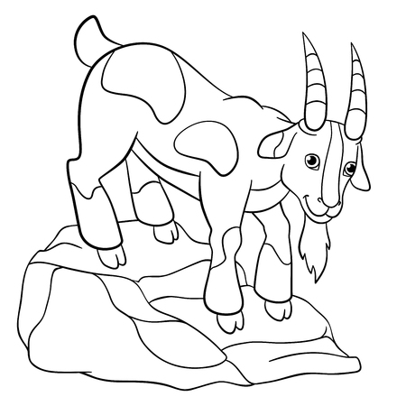 coloration: Coloring pages. Farm animals. Cute billy goat stands on the stone and smiles.