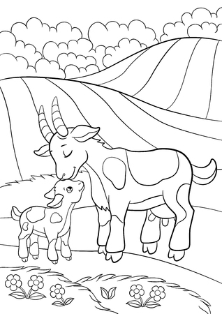baby goat: Coloring pages. Farm animals. Mother goat with her little cute goatling on the field.
