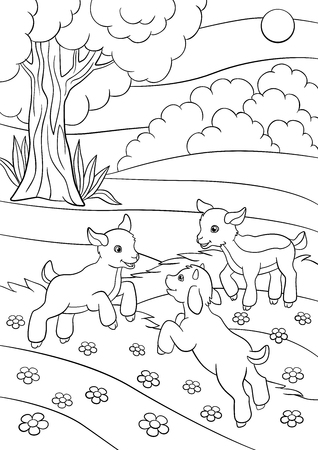 Coloring pages. Farm animals. Three little cute goatlings play on the grass. Illustration