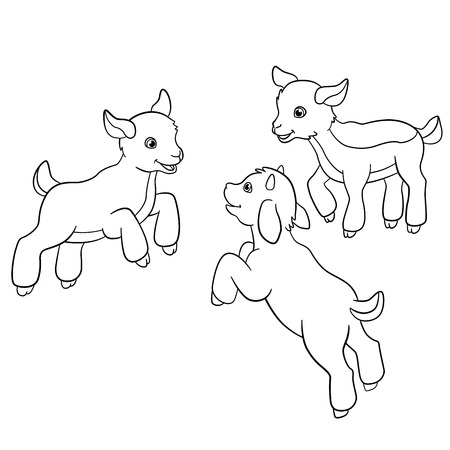 Páginas para colorear. Animales de granja. Tres pequeños doatlings lindo.