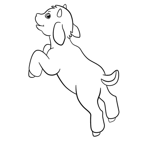 billy: Coloring pages. Farm animals. Little cute goatling jumps and smiles.