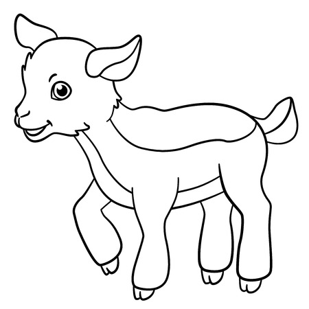 billy: Coloring pages. Farm animals. Little cute goatling stands and smiles. Illustration