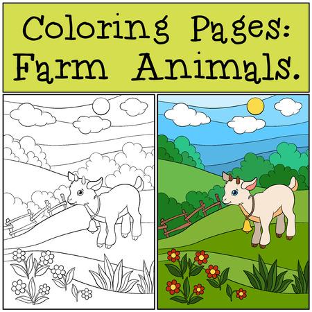Páginas Para Colorear Animales De Granja Familia De La Cabra En El