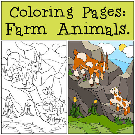 baby goat: Coloring Pages: Farm Animals. Father goat with his little cute baby goat on the rocks.