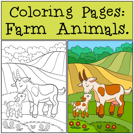baby goat: Coloring Pages: Farm Animals. Mother goat with her little cute baby goat on the field.