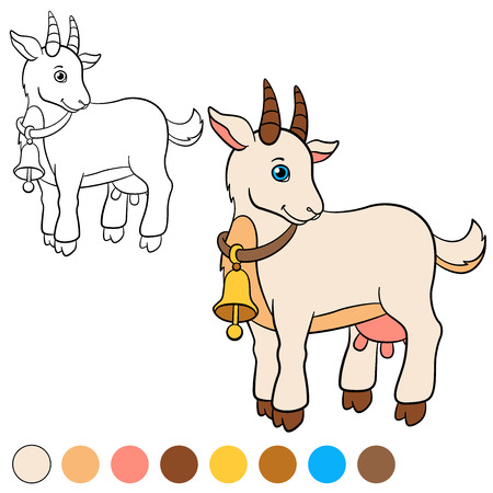 billy: Coloring page. Color me: goat. Cute goat stands and smiles.