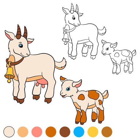 billy: Coloring page. Color me: goat. Mother goat with her little cute baby goat.